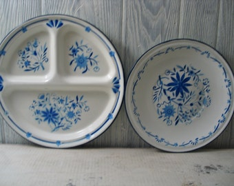 Vintage Blue and White Porcelain enamel plates