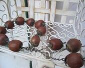 Rustic Handmade Vintage Unique Bracelet Vintage Made of Chestnuts Victorian Folk Boho