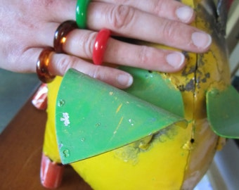 Vintage Lucite Rings Lot of 4 Lucite Rings Mod 70s Red Green Amber Lot of 4 Vintage 70s Groovy Jewelry