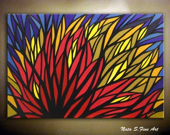 """Original Abstract Landscape Painting.Abstract Art.Large Artwork.Modern Wall Decor.Olive,Blue,Yellow,Red...  36"""" x 24"""" - by Nata S."""