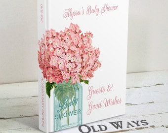 Rustic Chic Baby Shower Guest Book Mason Jar Pink Flowers - Baby Wishes, Parent Advice Book - Custom Personalized Baby Girl Shower Guestbook