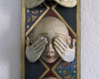 Hear No Evil, See No Evil, Speak No Evil masks wall hanging
