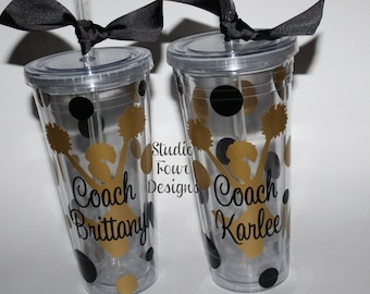 Cheerleader Tumbler, Cheer Team, Cheer Mom, Cheer Coach Gift - 20 oz. Clear TUMBLER - all sports available - Personalized Coach Gift