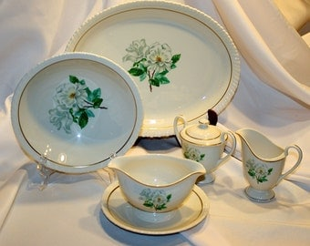 Silver Rose, Hanover China, 6 Piece Hostess Set, 1960s, Beautiful and in Excellent Condition