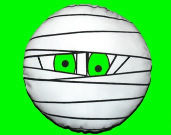"""Halloween Mummy Round Pillow Cover in Neon Green, Black and Off White - 12"""" (30cm)"""