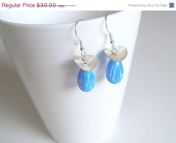 Blue Opal earring, October birthstone, Gemstone dangle earrings, Blue silver earring, Light blue earring, Simple earring, Sparkle earrings