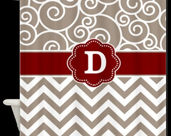 Tan Swirls and Chevron Monogram Fabric Shower Curtain - You CHOOSE ACCENT COLOR