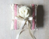 Ring Bearer Pillow Vintage Silk and Crochet Rose in Champagne, Ivory, and Pink