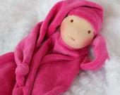 Inspired Waldorf Security blanket fushia with brown eyes