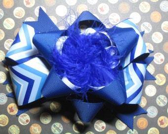 Blue and White Chevron Hair Bow Hairbow