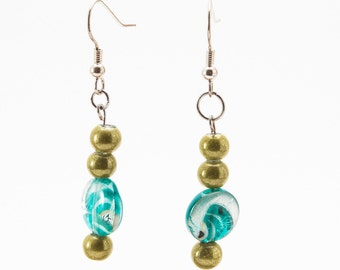 Recycled Bead Earrings, Two Tone Jewelry, Light Weight Dangles, Lime Green and Turquoise, Colorful Earrings, Fashion Jewelry, Cute & Stylish