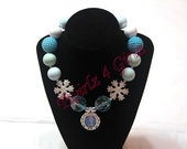 Let it Go, Let it Go - Chunky bead necklace with Elsa and snowflakes