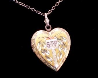 Vintage Vermeil Sterling Locket, STP Monogram Locket, Etched Art Nouveau Floral Heart Pendant, Sterling Silver Chain, Vintage Locket