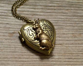 Floral Rabbit Locket, Art Nouveau Floral Heart Locket, Bunny Rabbit Brass Heart Pendant Necklace, Animal Jewelry, Bunny Locket