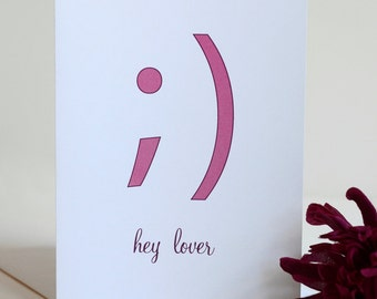 Valentine's Day Card - Single Card - Hey Lover