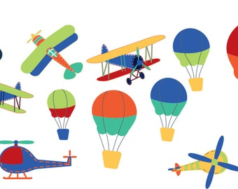 Childrens vinyl wall decal-  Vintage AirPlanes-  balloon decal-- helicopters decal-