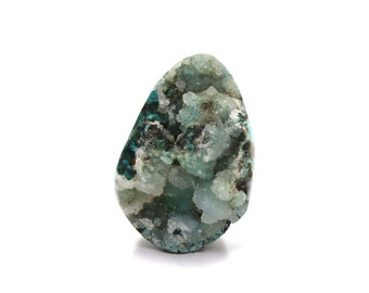 """20% off SALE - Chrysocolla Druzy Raw Crystal Specimen with Flat Back 43mm / 1.7"""" Natural Rough Stone for Jewelry (Lot7236) Freeform Cabochon"""