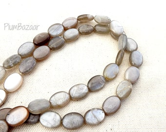 Moonstone beads, lovely soft silvery taupe color, 16 inch strand