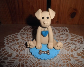 Polymer Clay Yellow Lab Sitting on a Turquiose Rug With Favorite Bone Cake Topper/Figurine/Gift