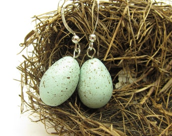 Robin's Egg Earrings Polymer Clay Speckled Bird Eggs Sterling Silver
