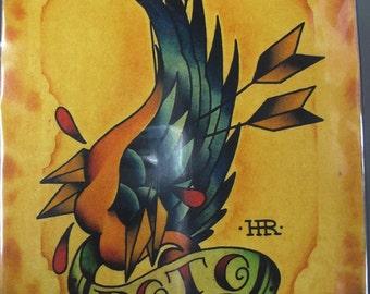 "Roto Broken Wing Original Tattoo Watercolor Print 8.5"" x 10.5"""