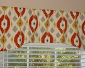 """New Swavelle Mill Creek Pumpkin Spice Arch Shaped Valance 52"""" wide x 19"""" long Lined Burnt Orange Golden Yellow Grey Gray Ivory"""