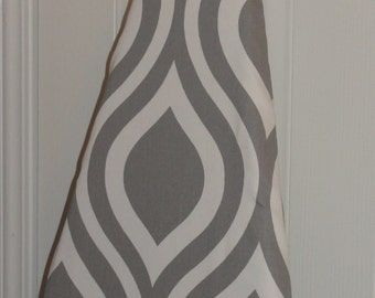 Decorative Ironing Board Cover Gray and White Hour Glass Thicker Twill Fabric