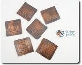 Set of 6 Square Copper Spiral Links