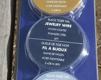 Tiger Tail Wire Set, Bead Wire Set, with Crimp Beads, Black, Silver, Gold Pack, Trio DIY Bead Supply