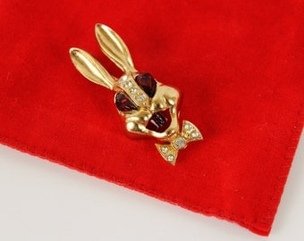 Vintage 1950s  unsigned  Bunny Rabbit Pin Brooch / Easter / Playboy