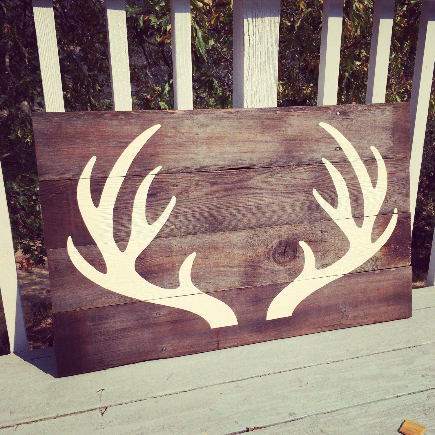 reclaimed wood antler wall art by partyof9 on etsy. Black Bedroom Furniture Sets. Home Design Ideas