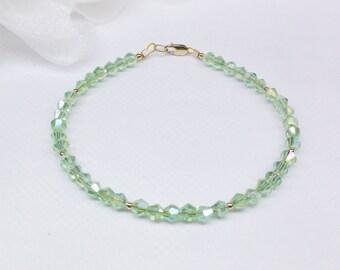 Solid 14kt Gold Bracelet Green Peridot Bracelet Green Crystal Bracelet Adjustable Bracelet Real 14k Gold Bracelet BuyAny3+Get1Free