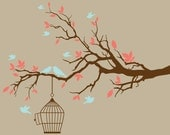 Coral and light turquoise birds and branch wall decal