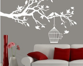 Branch wall decal white, wall decal branch, bird decals, decal birds wall, branch decal tree