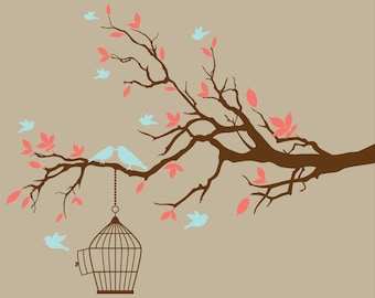 Branch with birds and birdcage wall decal design wall sticker