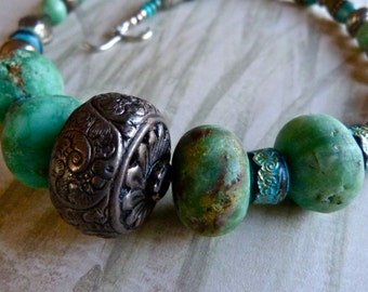Large Ornate Vintage Silver Wheel Bead with Variscite and Raw Chrysoprase Tribal Boho Necklace and Earrings