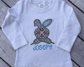 Easter bunny shirt with name for boy. Boy's Easter clothes. Tshirt for boy with personalized name. Appliqued Easter shirt. Blue & grey bunny