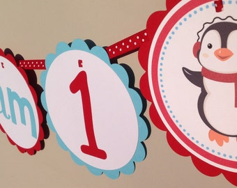 Penguin First Birthday I am 1 High Chair Banner Red and Aqua