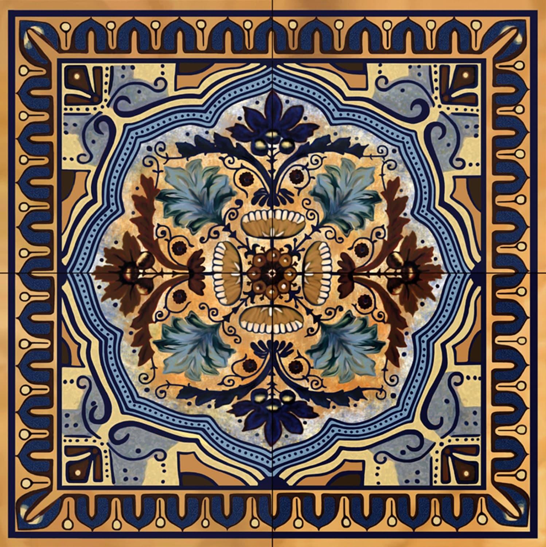 Italian blue custom ceramic tile backsplash 12 inch mural for Ceramic mural tiles