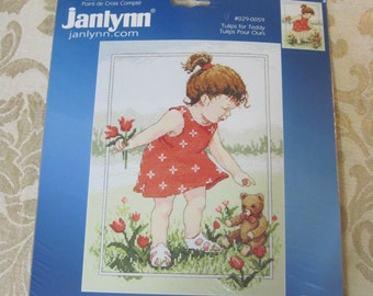 """Janlynn """"Tulips for Teddy""""  Counted Cross Stitch Kit #029-0059  Rare Kit from 2005"""