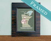 Custom Gift, Personalized Map,  5x7 or 8x10 FRAMED Wood  Custom Designed Map