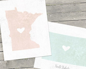 """Best Friend Gift, Map Art, Map Gift, Customized State or Country Print  - Sizes 5""""x7"""" up to 42""""x70"""""""