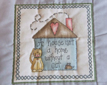 Cat Applique Wall Hanging