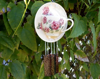Collectable TeleFlora Tea Cup and Saucer Stained Glass Wind Chime Suncatcher, Original garden decor, Unique window art, Gift for Her