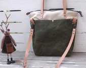 Foldover Tote Bag  Bottom  Army Green Waxed Canvad canvas -  Shoulder bag / Tote Bag / Diaper Bag /School bag