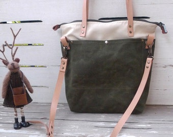 Foldover Tote Bag  Bottom  Army Green Waxed Canvad canvas -  Shoulder bag / Tote Bag / Diaper Bag /School bag