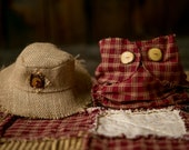 Newborn Huck Finn Strawberry and Cream Plaid Diaper Cover and Floppy Hat Photo Prop