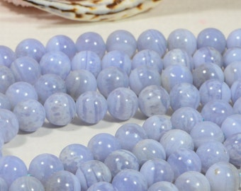 Blue Lace Agate 9mm Beads Natural Gemstone Lace Agate Beads Jewelry Making Supplies
