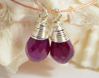 Ruby wire wrapped briolette matched pair Sterling silver wire