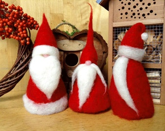 Set of three Santa in Red Needle Felted Wool. Christmas Decorations.ready to ship!